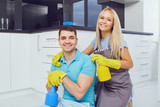 House cleaning. A young couple is cleaning an apartment. - 222188796
