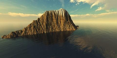 Beautiful seascape. Rocky island in the ocean.