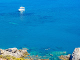 Panorama of Preveli beach (Palm beach) at Libyan sea, with river and palm forest, Crete, Greece