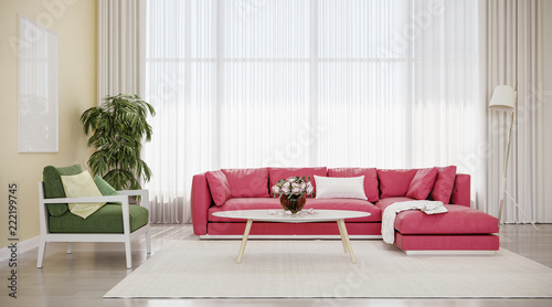 modern design interior living room red sofa with green chair buy