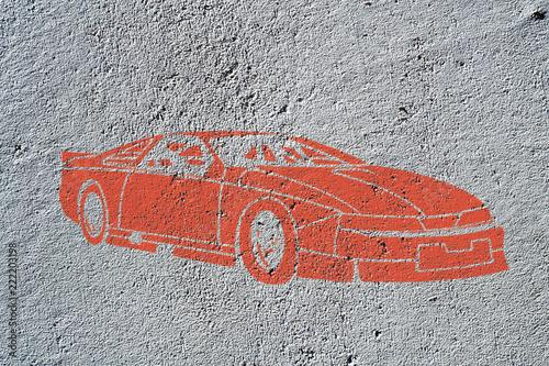 Street art, voiture de sport rouge - 222203198