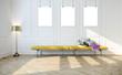 Modern bright interior with bench 3d illustration