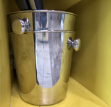 Kitchen utensils and tableware on shelf. Group of stainless steel kitchenware. - 222210506