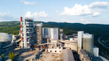 Aerial view of cement manufacturing plant. Concept of buildings at the factory, steel pipes, giants. - 222221161