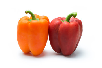 Red and orange pepper bell or paprika isolated on white background