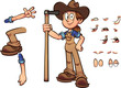 Cartoon farmer girl with different expressions holding a hoe. Vector clip art illustration with simple gradients. Some elements on separate layers.  - 222234790