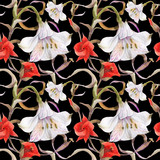 Watercolor floral black seamless pattern by alstroemeria and calochortus