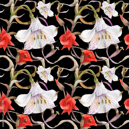Fototapeta Watercolor floral black seamless pattern by alstroemeria and calochortus