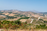 View of Sicilian countryside from Segesta, Sicily, Italy - 222235735