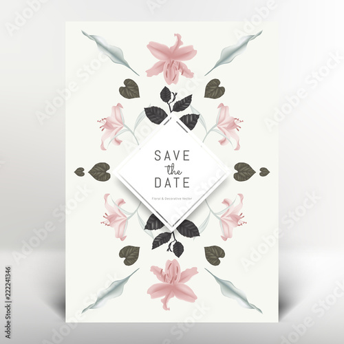 Fototapeta Botanical greeting/invitation card template design, lily flowers and leaves, vintage style