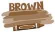 A brown color crayon on white backgroubd