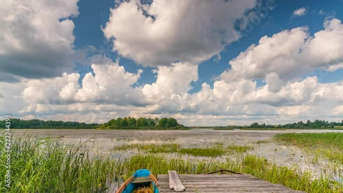 Poster Panoramic time lapse of lake in a countryside at summer day