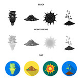 An ecological lamp, the sun, a garbage dump, a sprout from the earth.Bio and ecology set collection icons in black, flat, monochrome style vector symbol stock illustration web. - 222252325