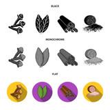 Clove, bay leaf, nutmeg, cinnamon.Herbs and spices set collection icons in black, flat, monochrome style vector symbol stock illustration web. - 222252709