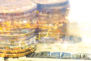 Double exposure of statement, graph, stock indicator and rows of coins for business concept