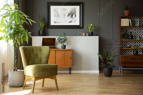 Real photo of dark living room interior with green armchair, vintage on green lumber, green floors, green patio, green balcony, green nursery glider, green shelves, green bars, green columns, green accessories, green plumbing, green faucets,