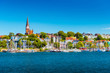 Leinwanddruck Bild - Flensburg cityscape at summer day. Skyline of the old european town. Panoramic view of the small german city