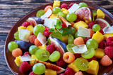 close-up of fruit salad with figs