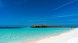 tropical paradise beach with white sand, Madives. - 222272597