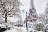 Scenic view to the Eiffel tower on a day with heavy snow - 222272920