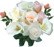 isolated lush bunch with roses flowers on white