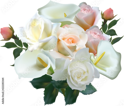 Fototapeta isolated lush bunch with roses flowers on white