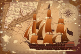 An old geographic map of the area with a ship and a compass. Vector image. - 222283769