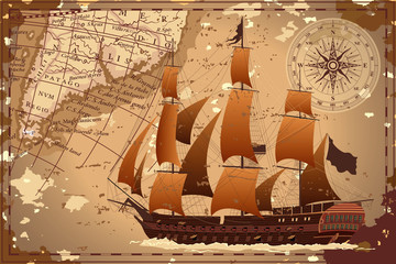An old geographic map of the area with a ship and a compass. Vector image.