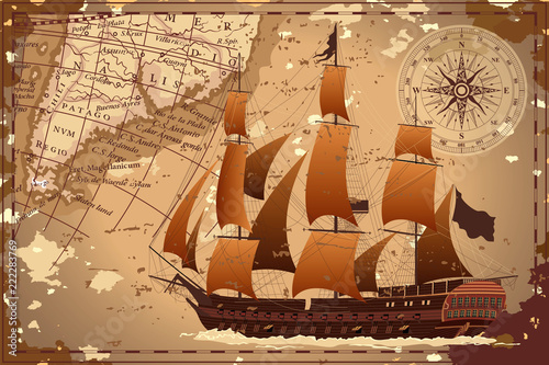 Fototapeta An old geographic map of the area with a ship and a compass. Vector image.