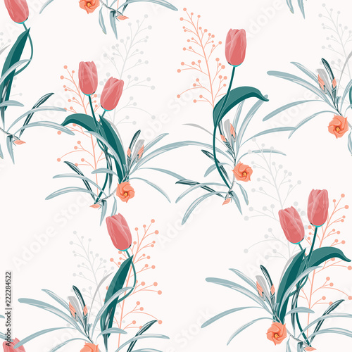 Sticker Beautiful summer freshy Trendy Wild blooming flower orange tulip and herbs seamless pattern in a hand drawing style.