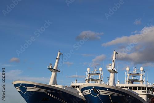 Front hulls of fishing boats