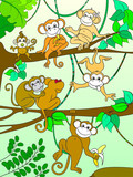 Family of monkeys on a tree color book for children cartoon raster