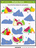 Shadow matching visual puzzle: Match the pictures of fruit and berry to their shadows. Answer included.  - 222287374