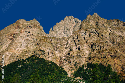 Fototapeta Mountain massif. Panorama from the, Courmayeur , Aosta Valley, Italy