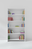 White bookcase with many different books - 222295553