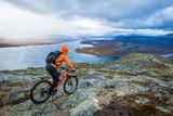 Mountain biker on mountain scenery