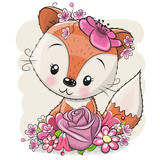 Cartoon Fox with flowerson a white background - 222302133