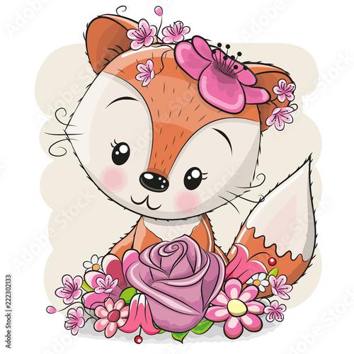 Fototapeta Cartoon Fox with flowerson a white background
