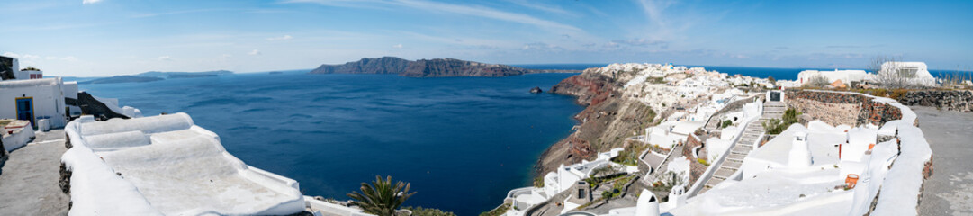 Greece Santorini Island in Cyclades wide panoramic view of caldera
