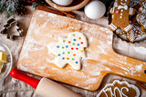 cooking christmas gingerbread on wooden background top view - 222305597