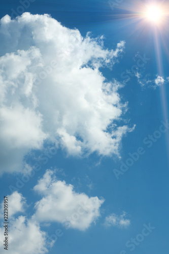 Summer background, wonderful blue sky with bright sun - 222305957