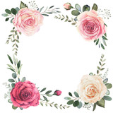 Watercolor floral wreath composition with roses and eucalyptus - 222307129