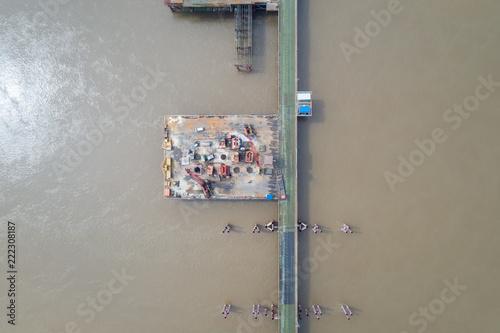 aerial view of bridge construction site - 222308187
