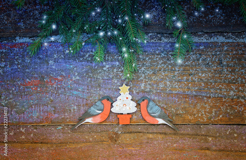 A New Year and Christmas background with with spruce branch, two bullfinches and christmas tree