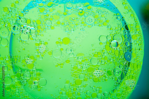 Leinwandbild Motiv Circles of oil on water green background. Abstract background for text.