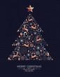Merry Christmas copper deer decoration pine tree