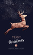 Christmas and New Year copper low poly deer card