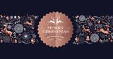 Merry Christmas copper luxury deer label card - 222319946