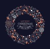 Merry Christmas copper deer decoration wreath