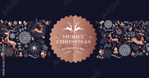 Merry Christmas copper luxury deer label card - 222319946